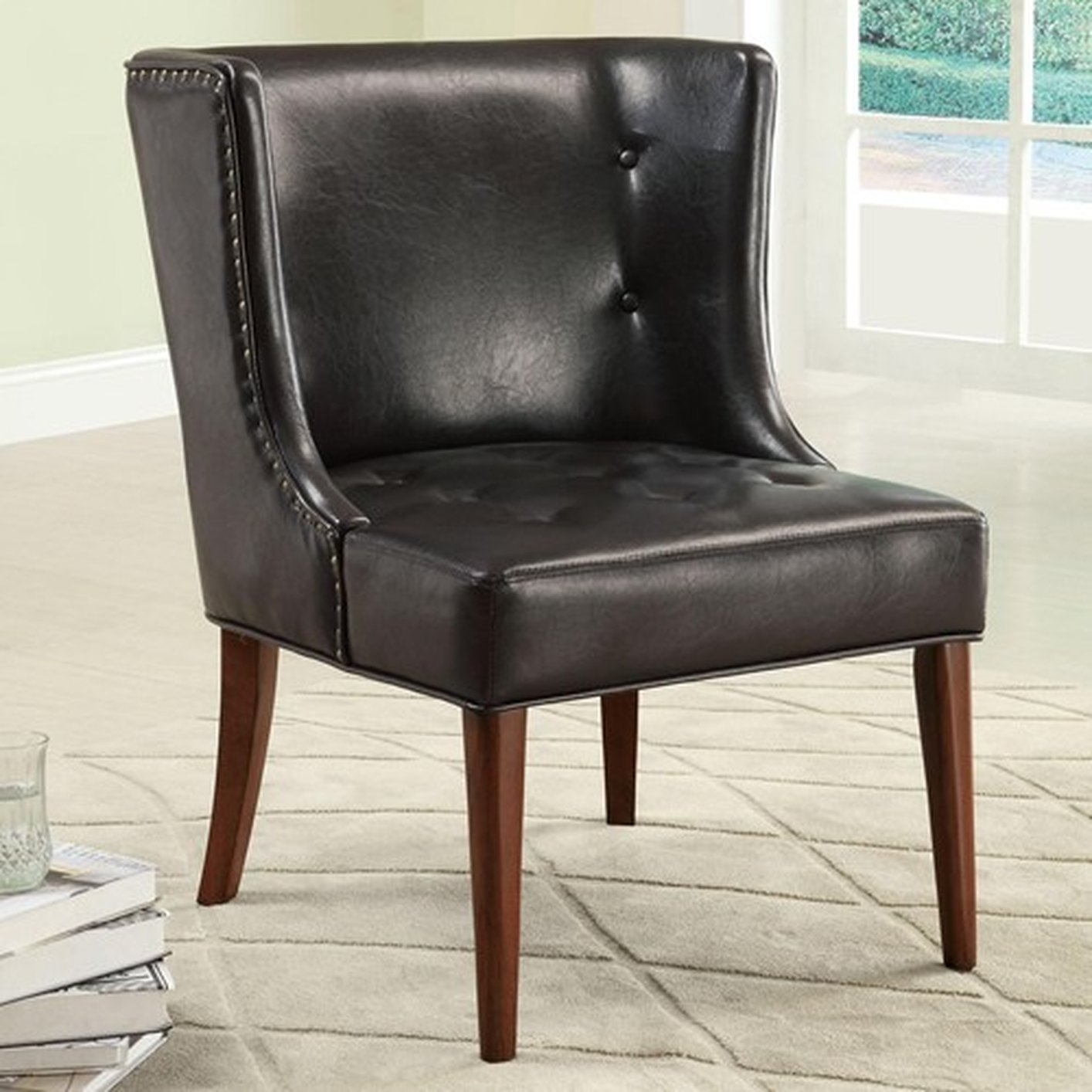 Coaster Black Leather Accent Chair Steal A Sofa Furniture