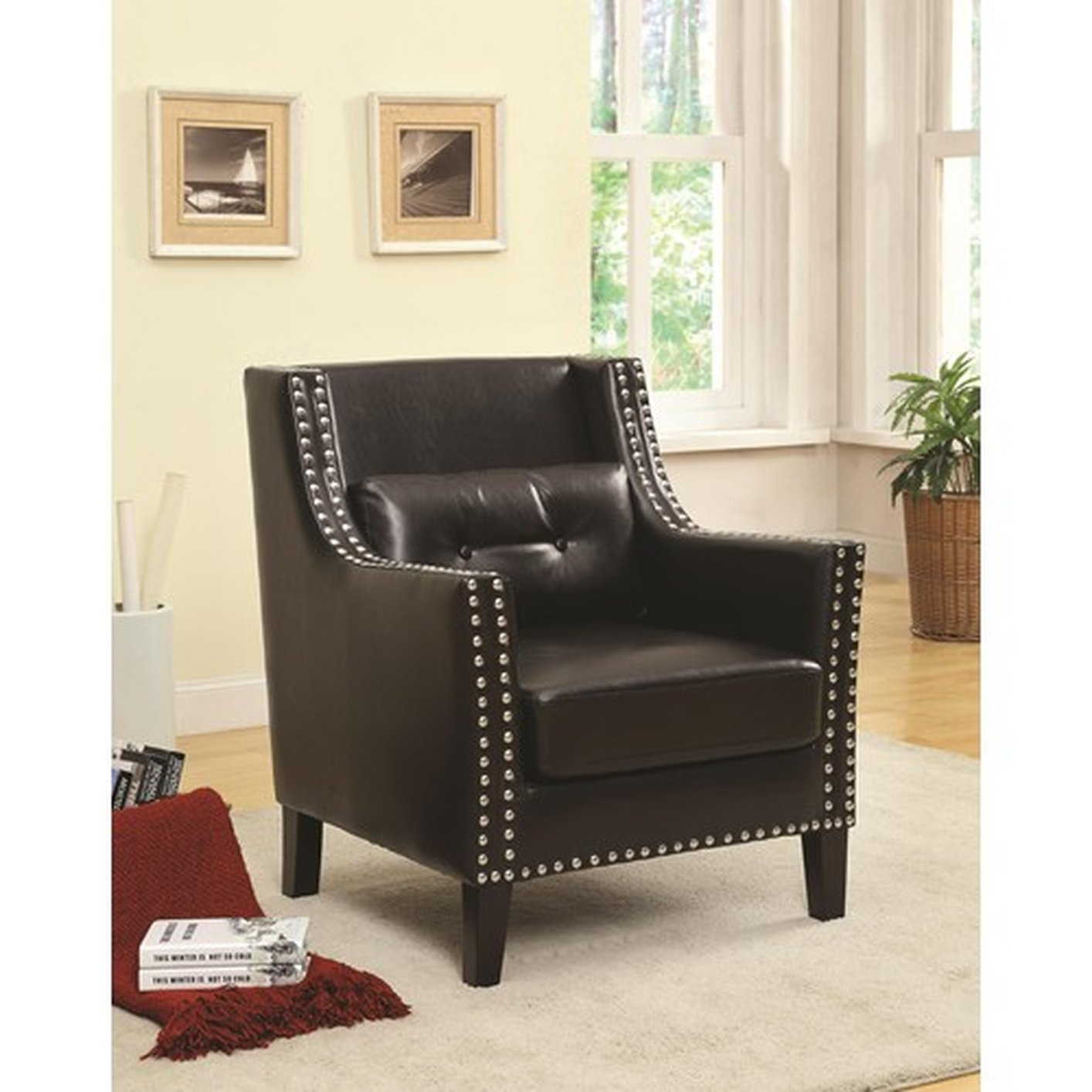 Black leather accent chair steal a sofa furniture outlet for Furniture 90036