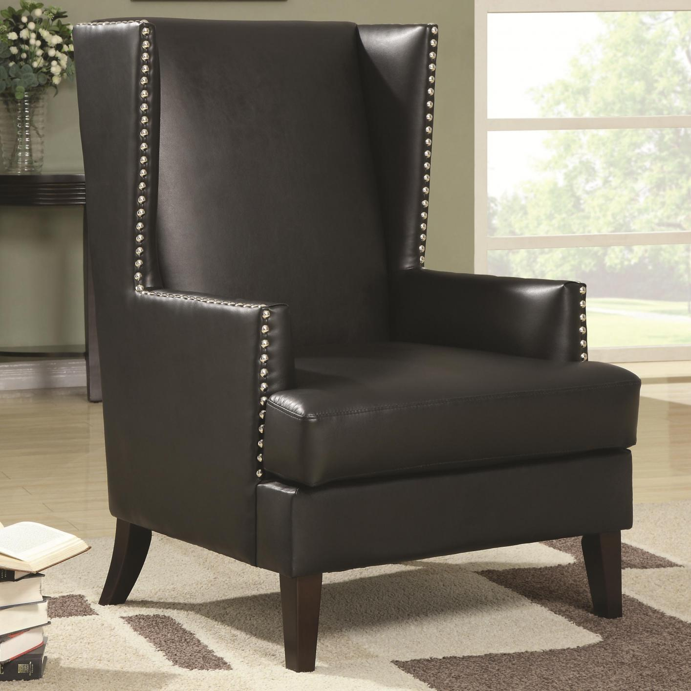 Black Leather Accent Chair - Steal-A-Sofa Furniture Outlet ...