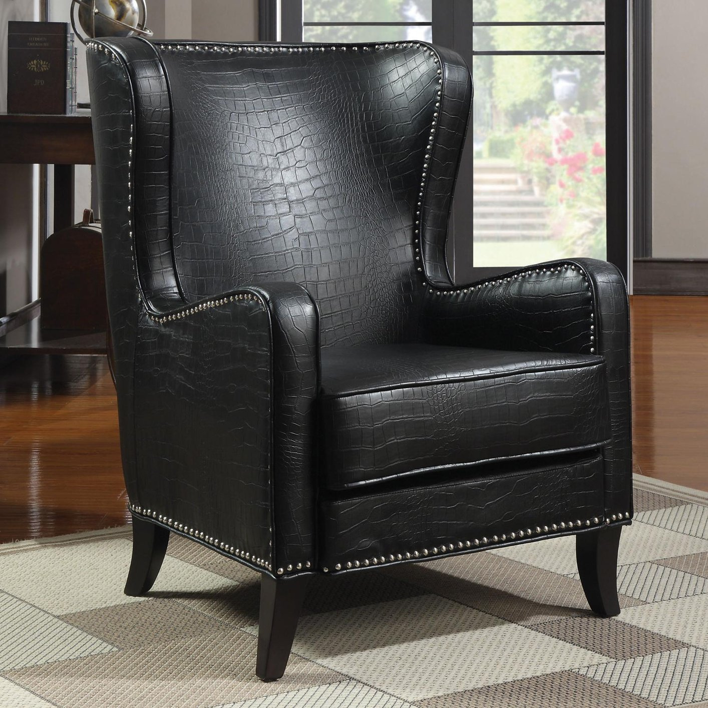Coaster 900162 Black Leather Accent Chair Steal A Sofa