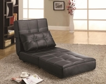 Black Leather Armless Chair