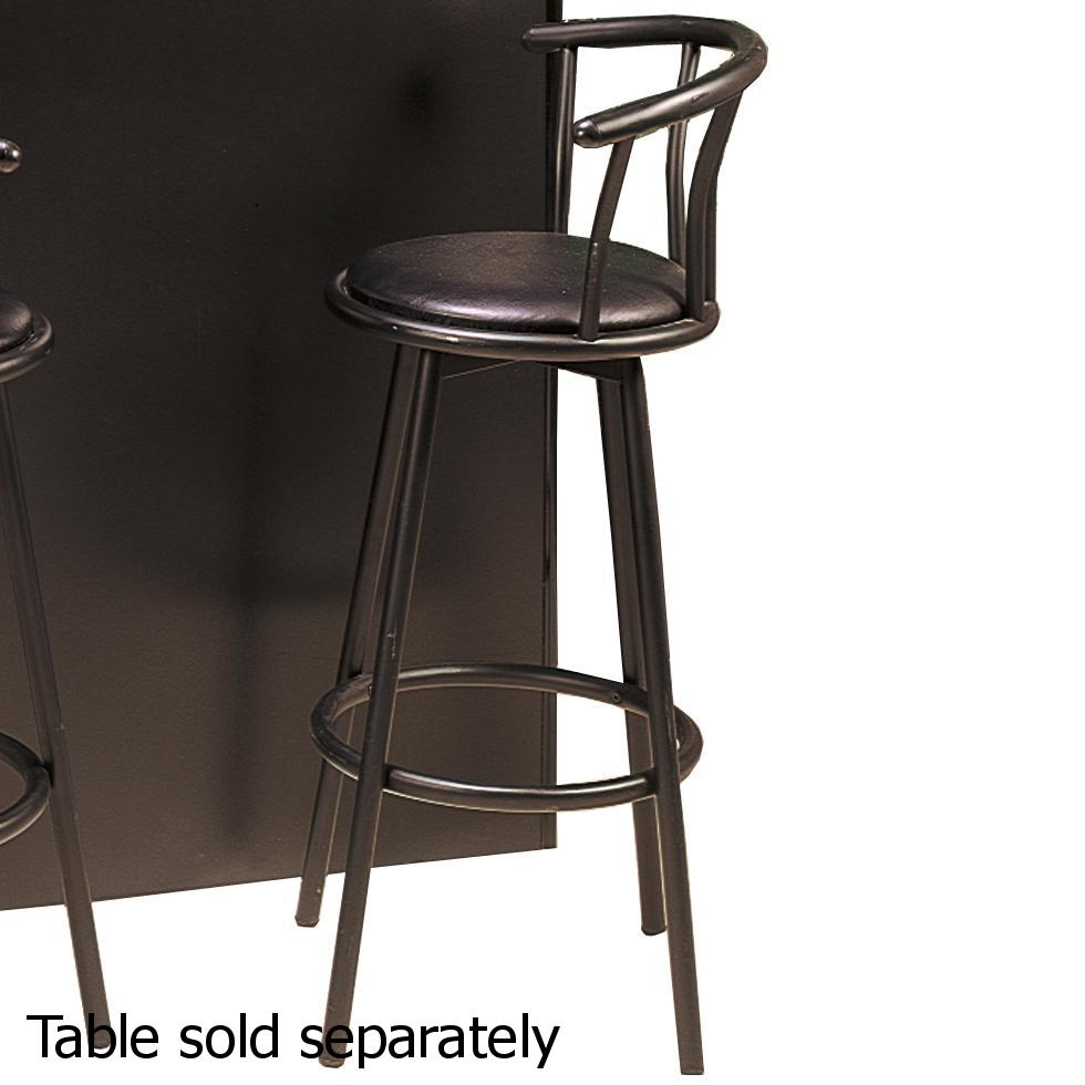 Black Metal Bar Stool With Brown Microfiber Seat By: Steal-A-Sofa Furniture Outlet Los