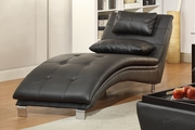 Duvis Black Leather Chaise Lounge
