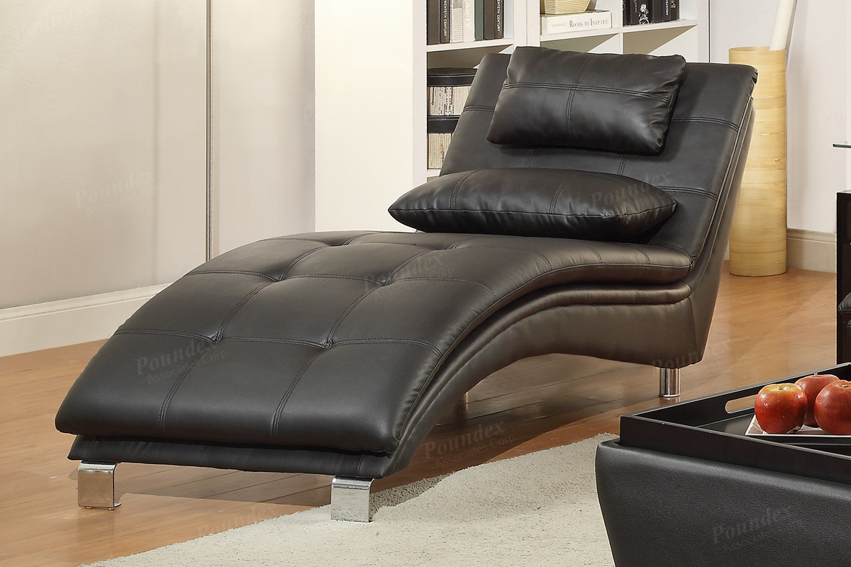 Poundex duvis f7839 black leather chaise lounge steal a for Chaise leather lounge