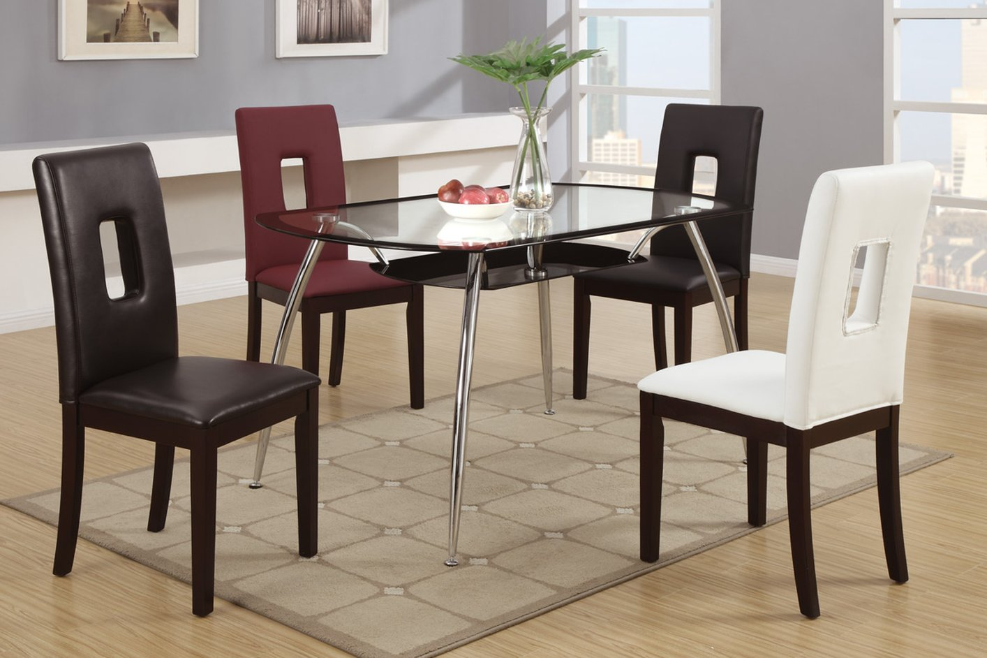 Black leather dining chair steal a sofa furniture outlet for Black leather dining room chairs