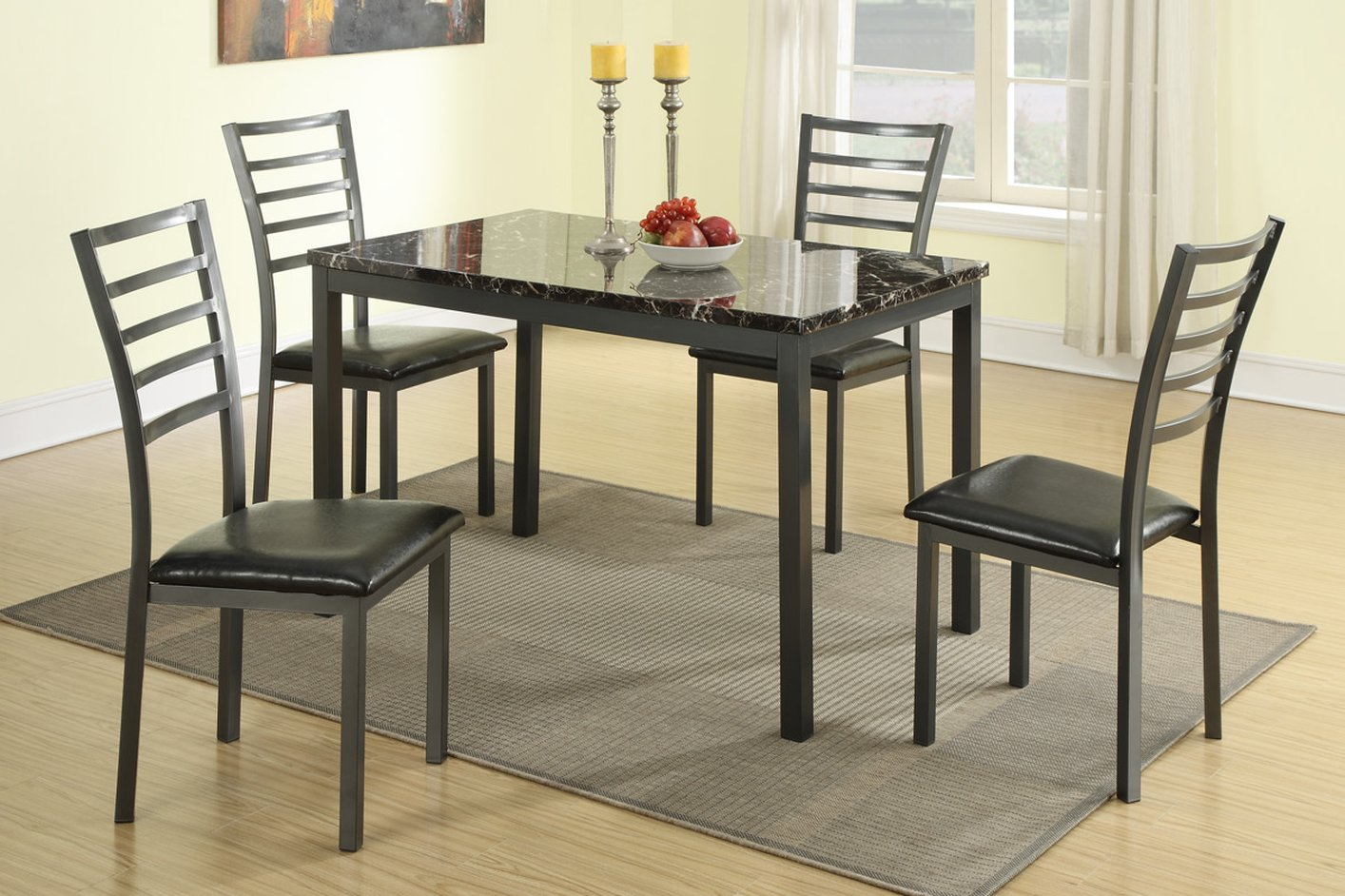 Black Leather Dining Table and Chair Set & Black Leather Dining Table and Chair Set - Steal-A-Sofa Furniture ...