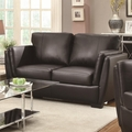 Lois Black Leather Loveseat