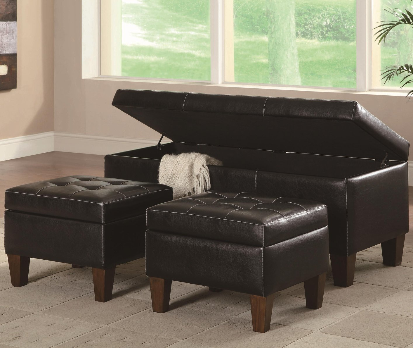 black leather ottoman set