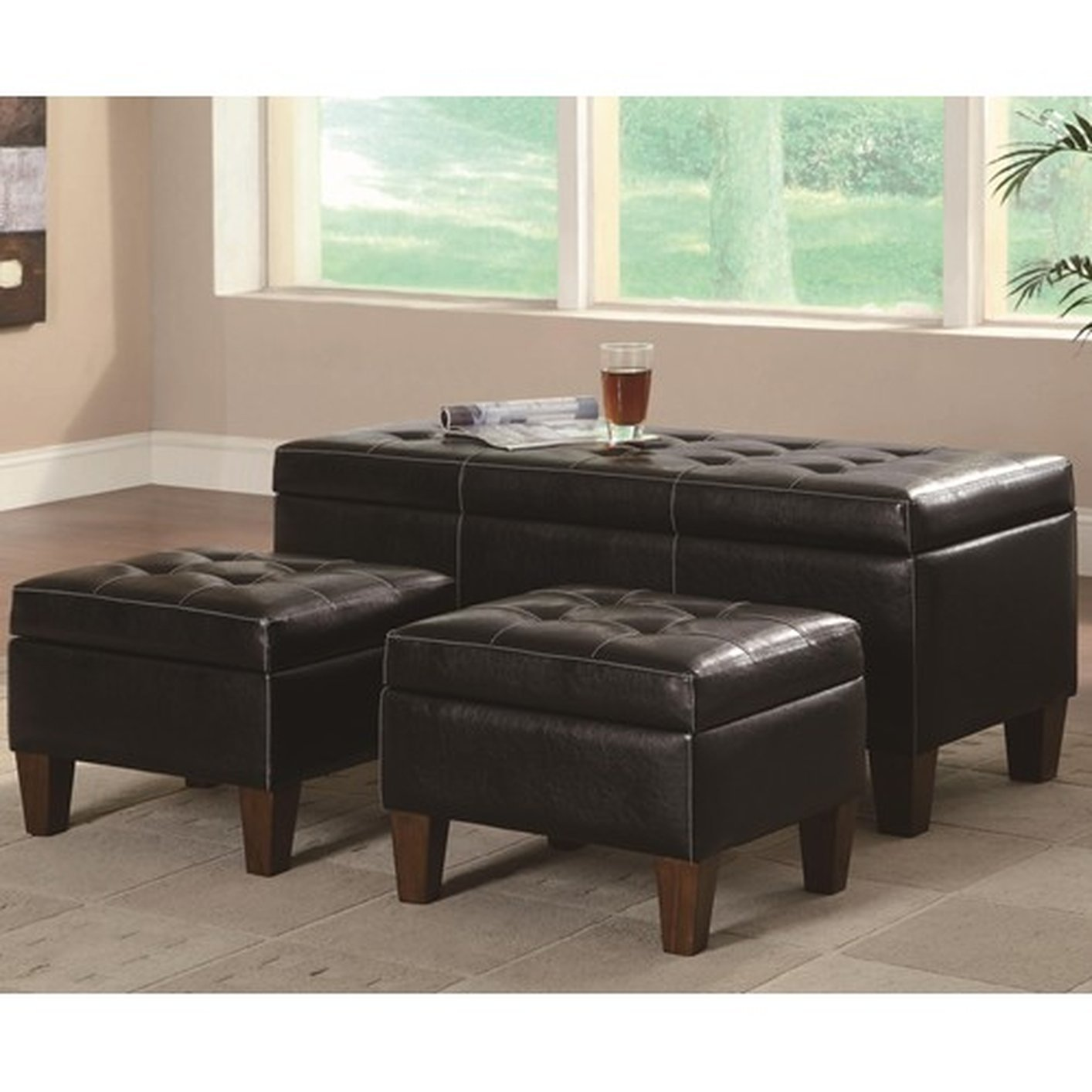 Black Leather Ottoman Set Steal A Sofa Furniture Outlet