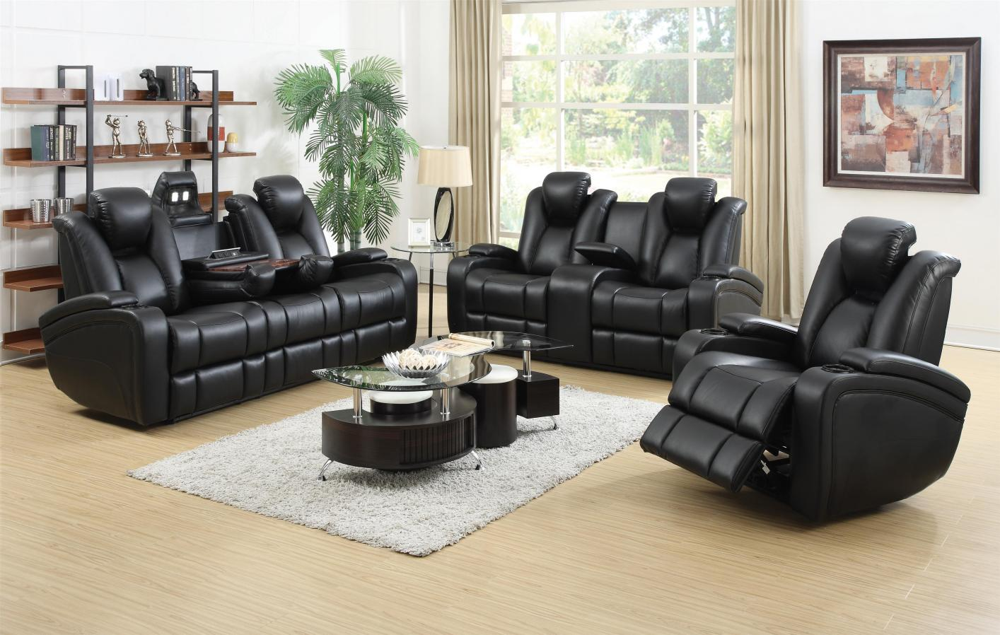 Charming ... Black Leather Power Reclining Sofa