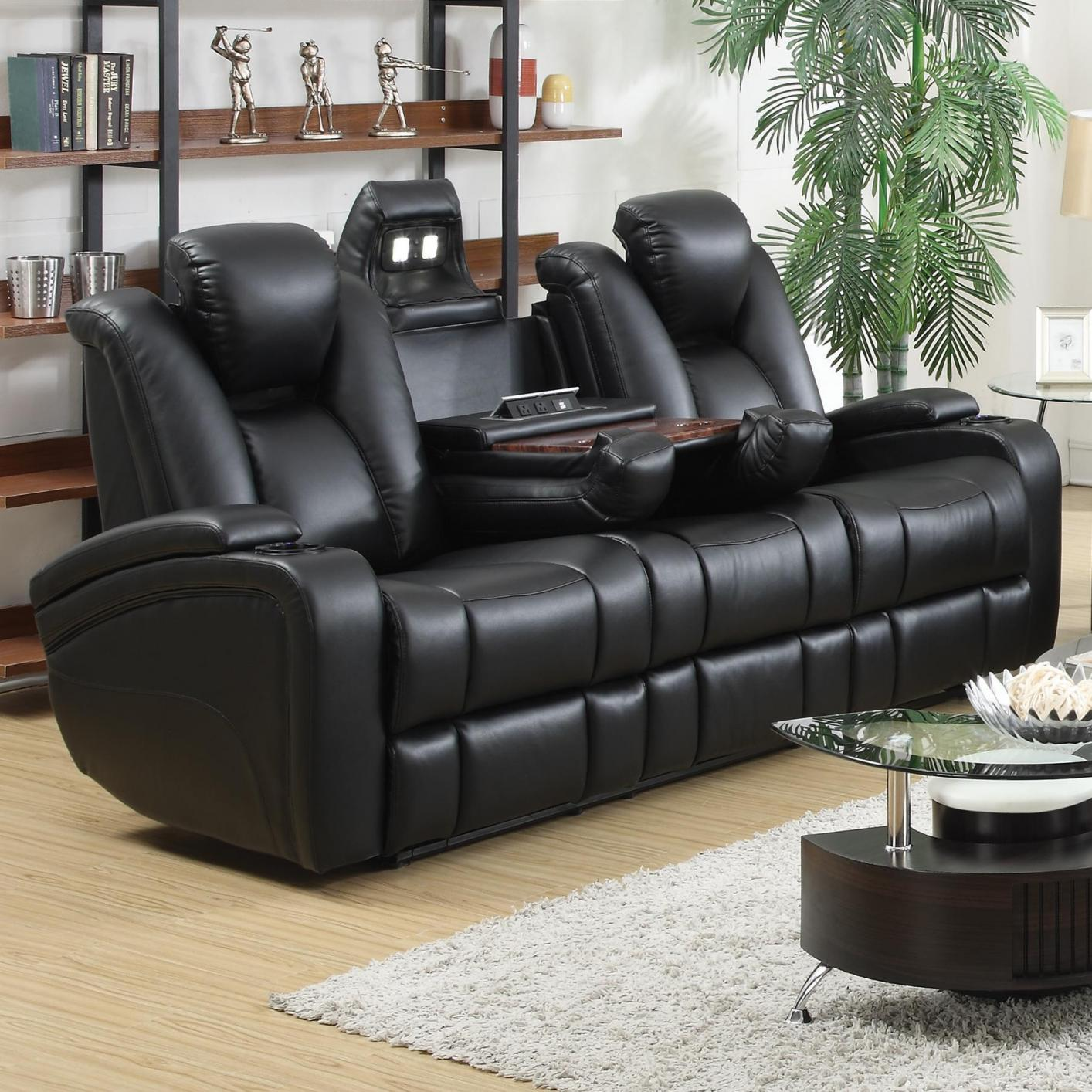 Merveilleux Black Leather Power Reclining Sofa