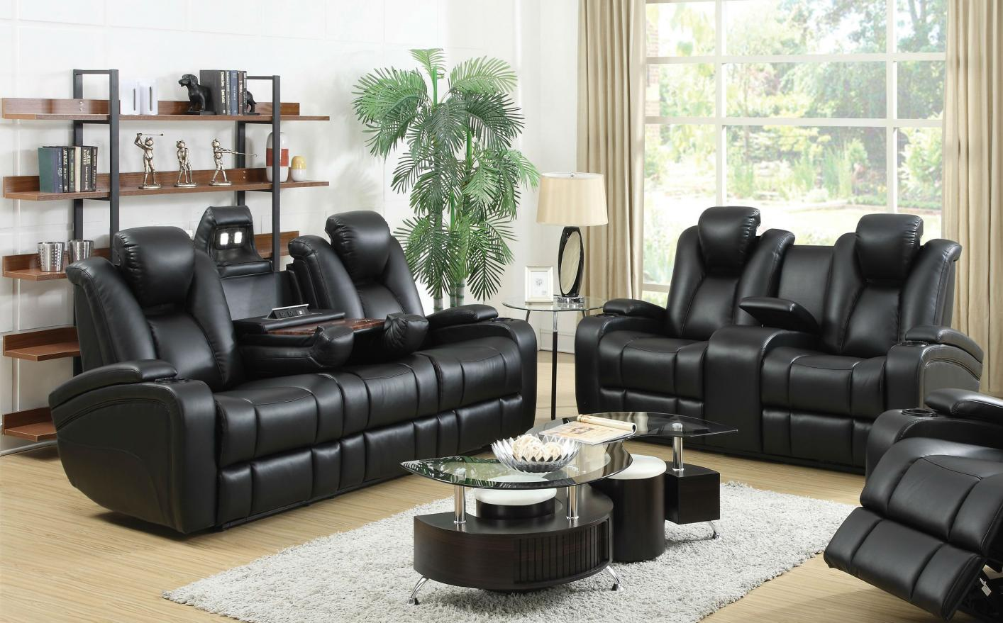 Coaster 601741p 601742p black leather power reclining sofa for Leather sofa and loveseat set