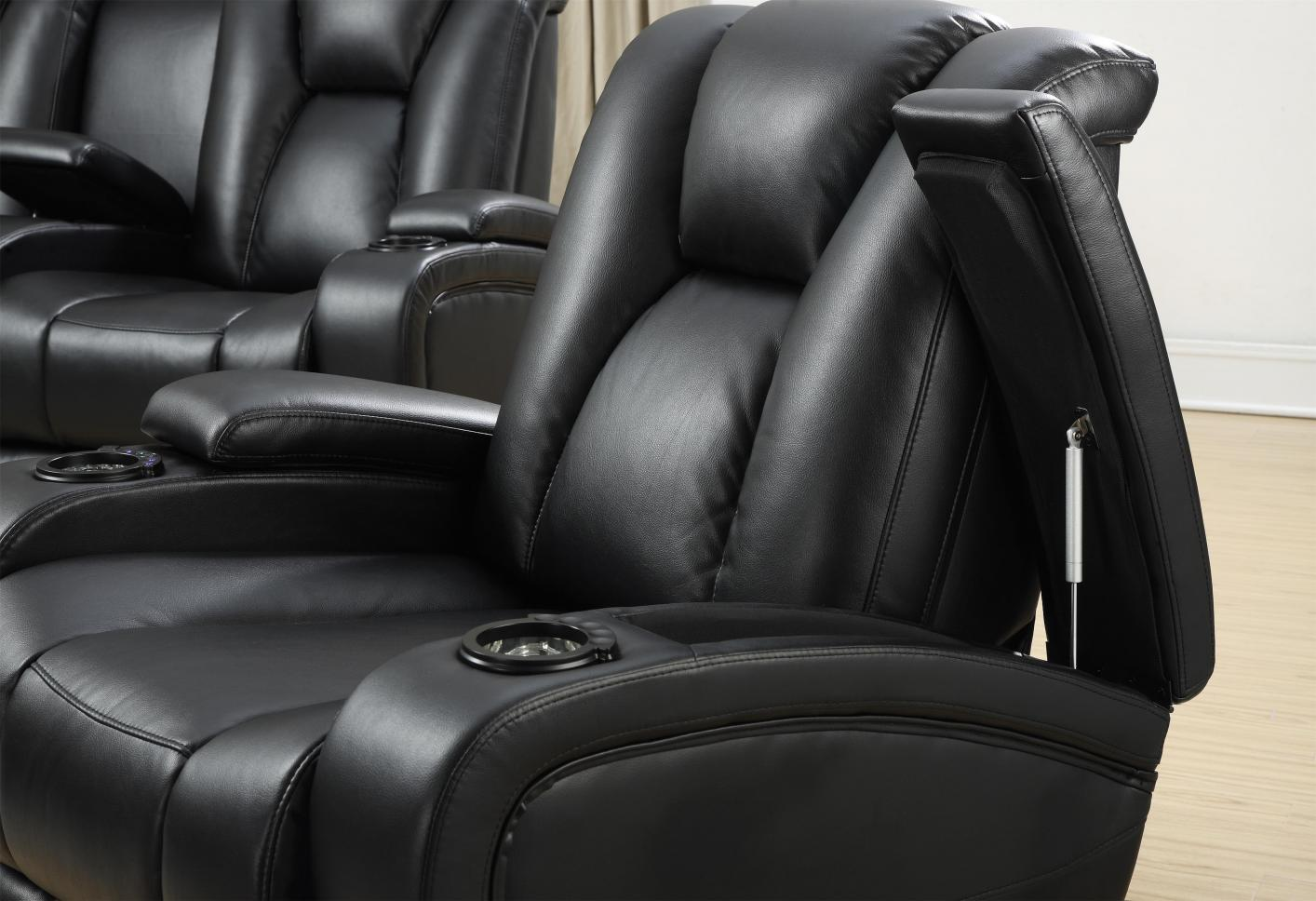 ... Black Leather Power Reclining Sofa And Loveseat Set ...