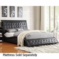 Tully Black Leather Bed