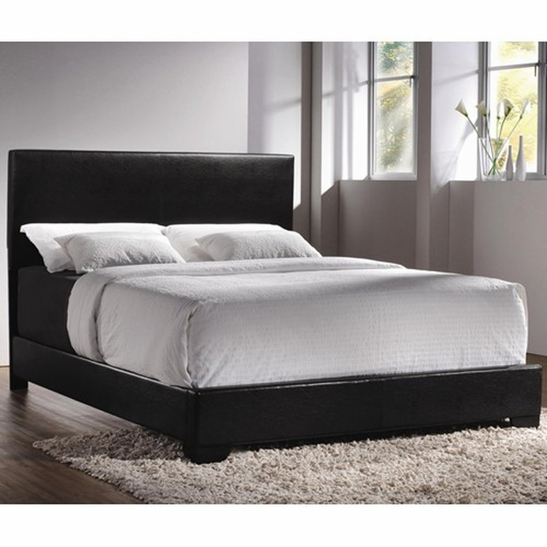 black leather queen size bed coaster 300260q black queen size leather bed steal a sofa - Queens Size Bed Frame