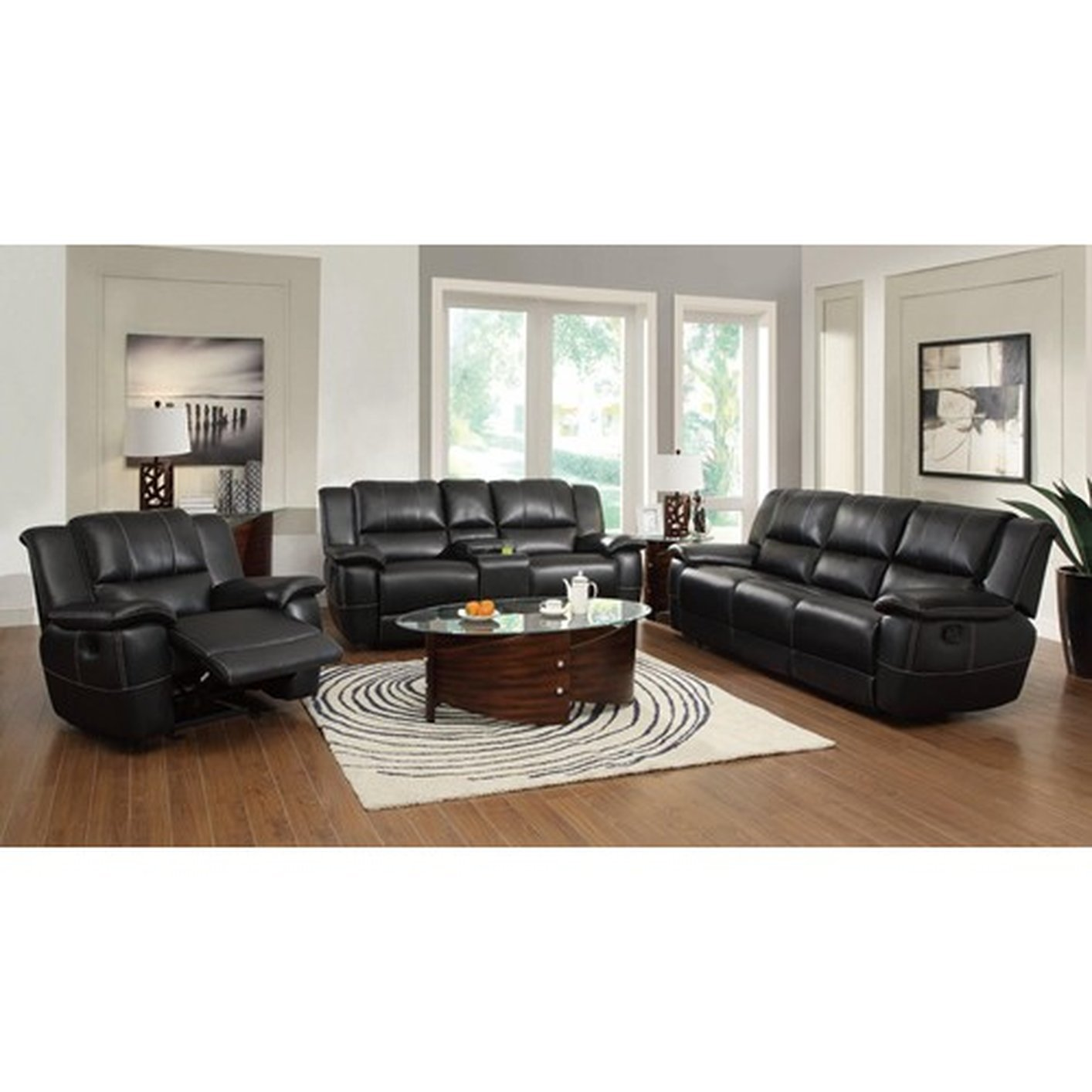 Coaster 601062 Black Leather Reclining Loveseat Steal A Sofa Furniture Outlet Los Angeles Ca