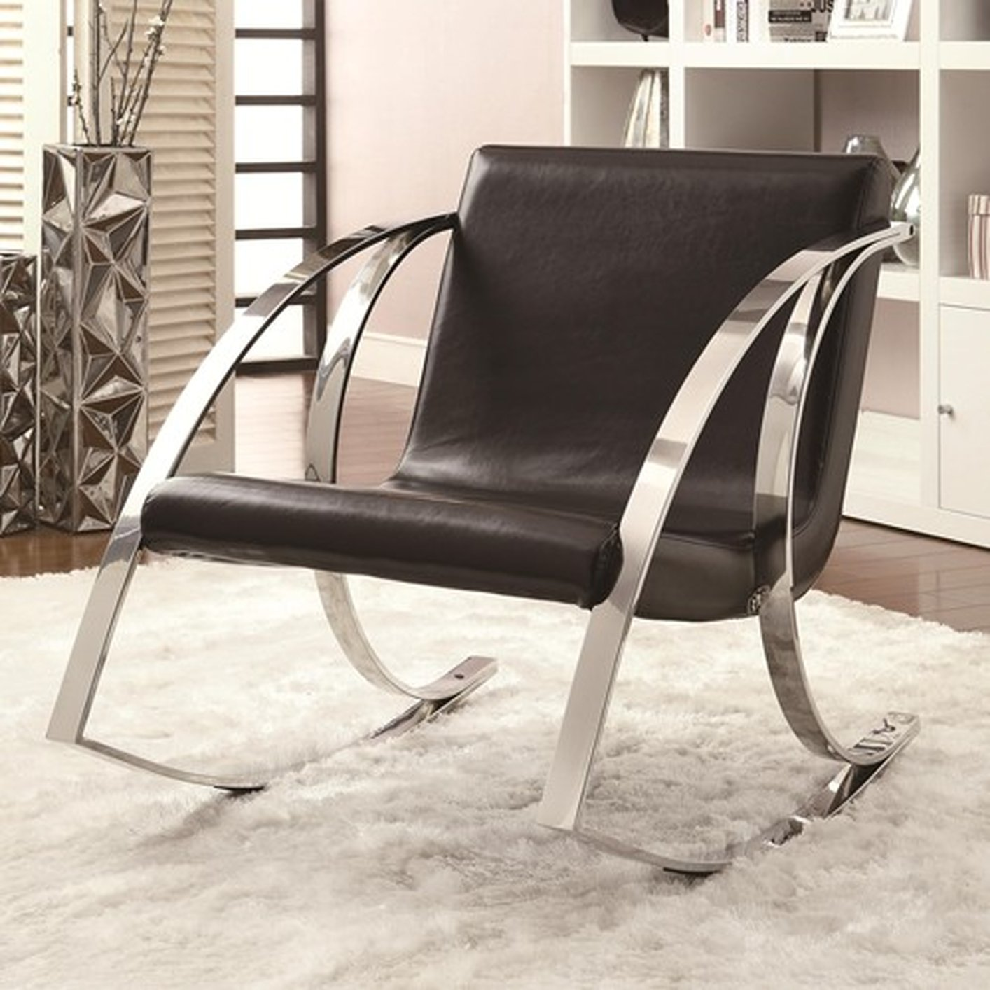Merveilleux Black Leather Rocking Chair