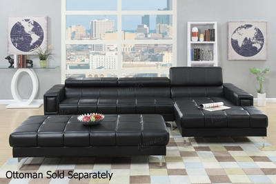Chester Black Leather Sectional Sofa