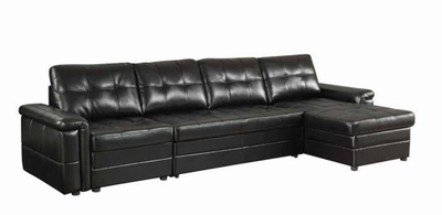 Black Leather Sectional Sleeper Sofa