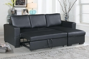 Black Leather Sectional Sofa and Ottoman