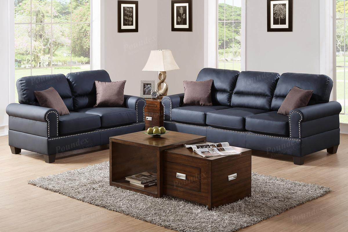 Poundex aspen f7877 black leather sofa and loveseat set for 2 piece furniture set