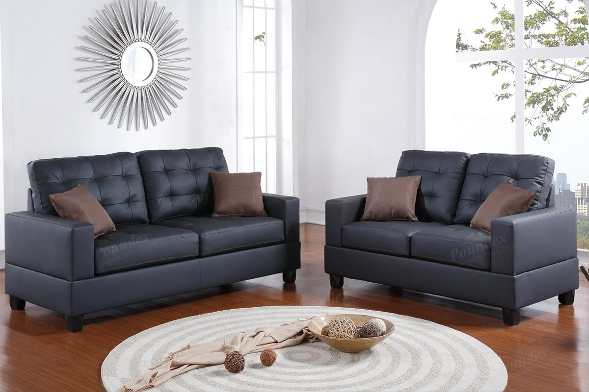 Black leather sofa and loveseat set steal a sofa for Leather sofa set