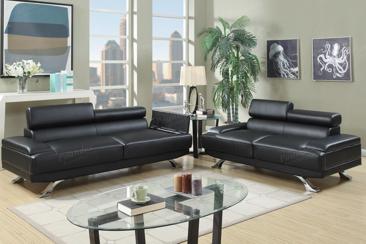 Boyn Black Leather Sofa And Loveseat Set