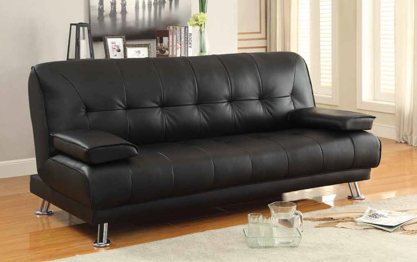 Coaster 300205 Black Leather Sofa Bed Steal A Sofa Furniture Outlet Los Angeles Ca