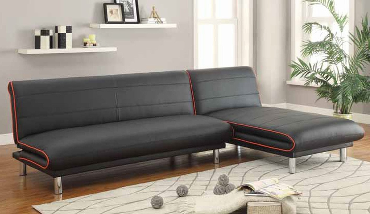 Coaster 500776 black leather sofa bed steal a sofa for Black divan bed with mattress