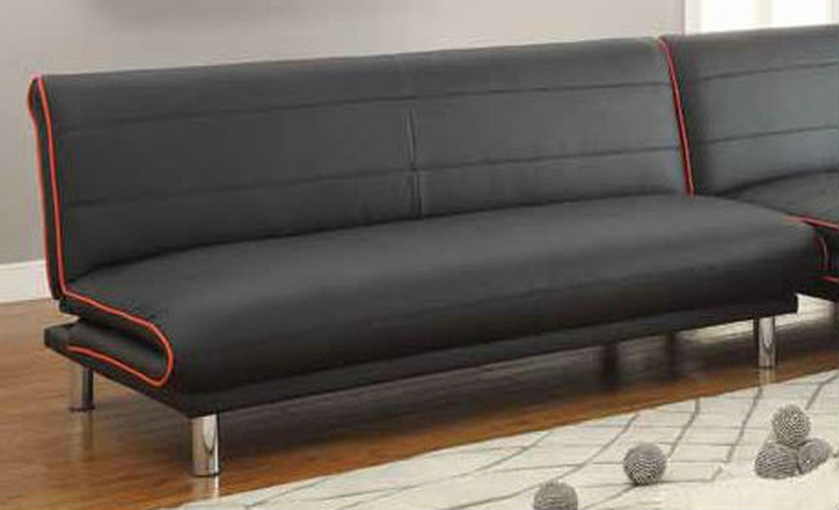 Coaster 500776 black leather sofa bed steal a sofa for Leather sofa bed