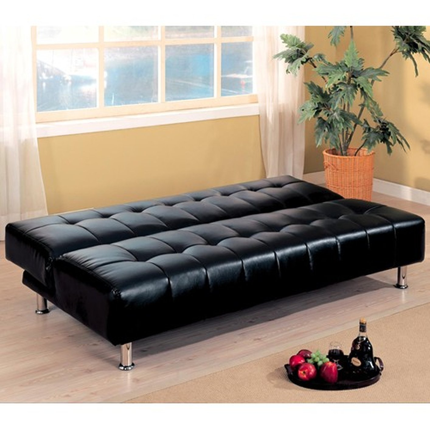 Black Leather Sofa Bed Black Leather Sofa Bed ...