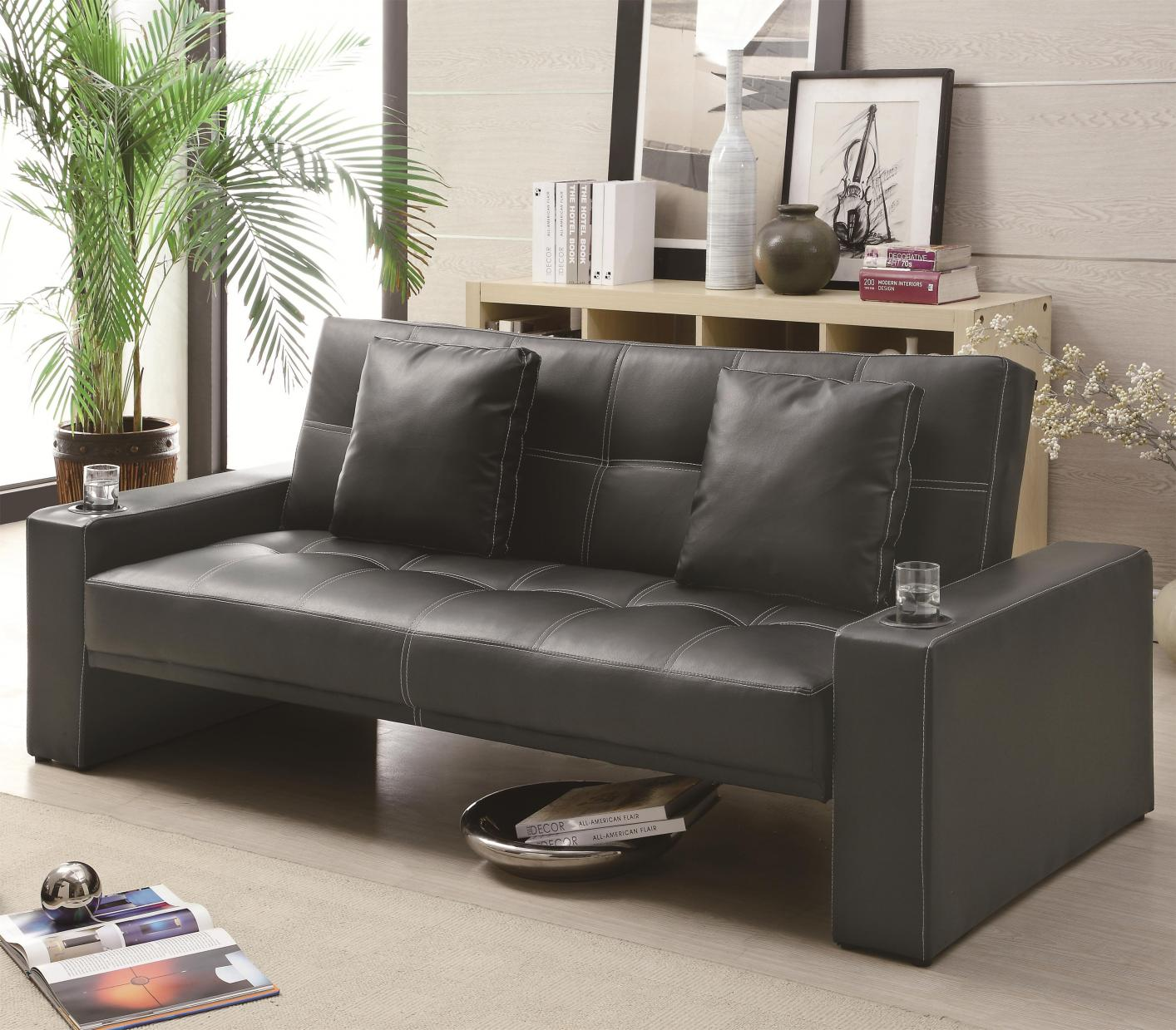 Black Leather Sofa Bed - Coaster 300125 Black Leather Sofa Bed - Steal-A-Sofa Furniture
