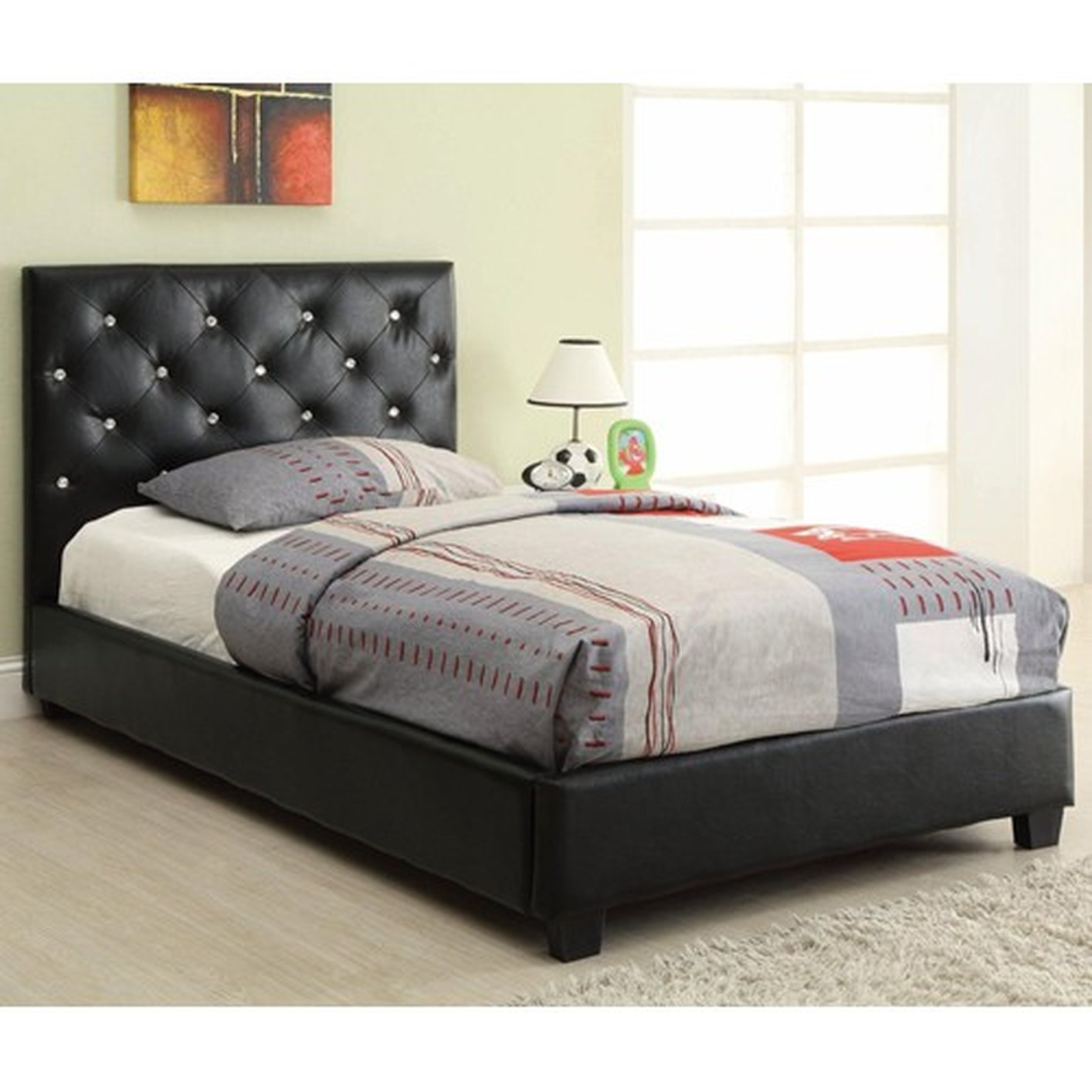 Coaster 300391t Black Twin Size Leather Bed Steal A Sofa Furniture Outlet Los Angeles Ca