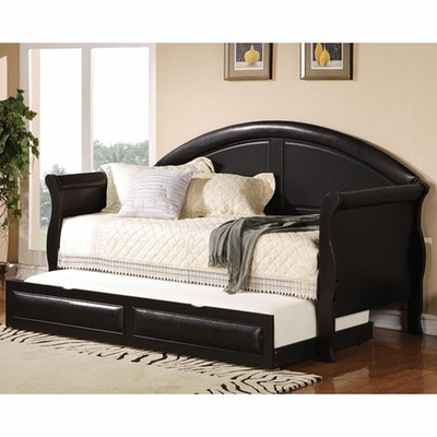 Coaster 300114 Black Twin Size Leather Day Bed Steal A