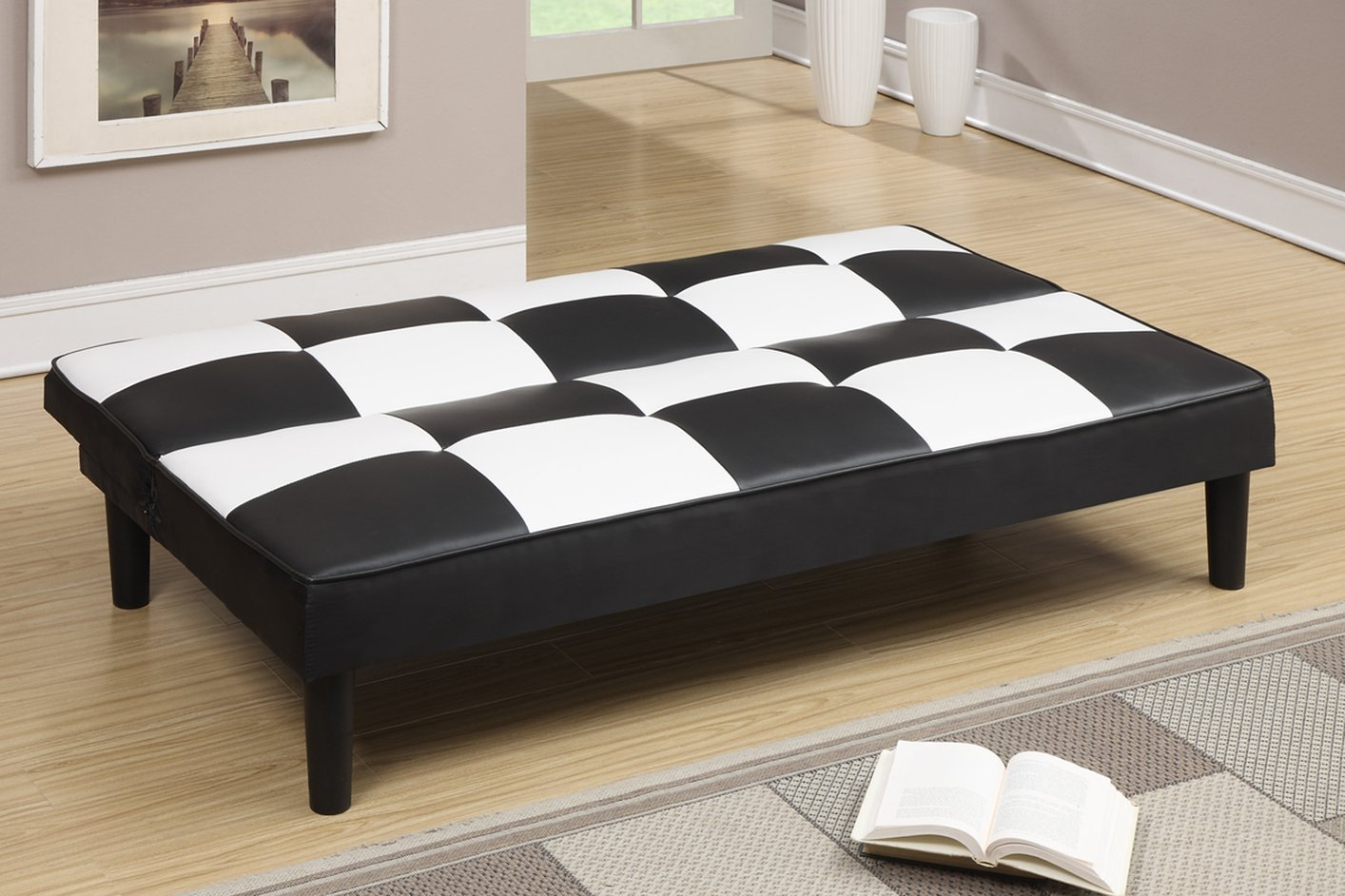 Poundex f7002 black twin size leather sofa bed steal a for Twin sofa bed