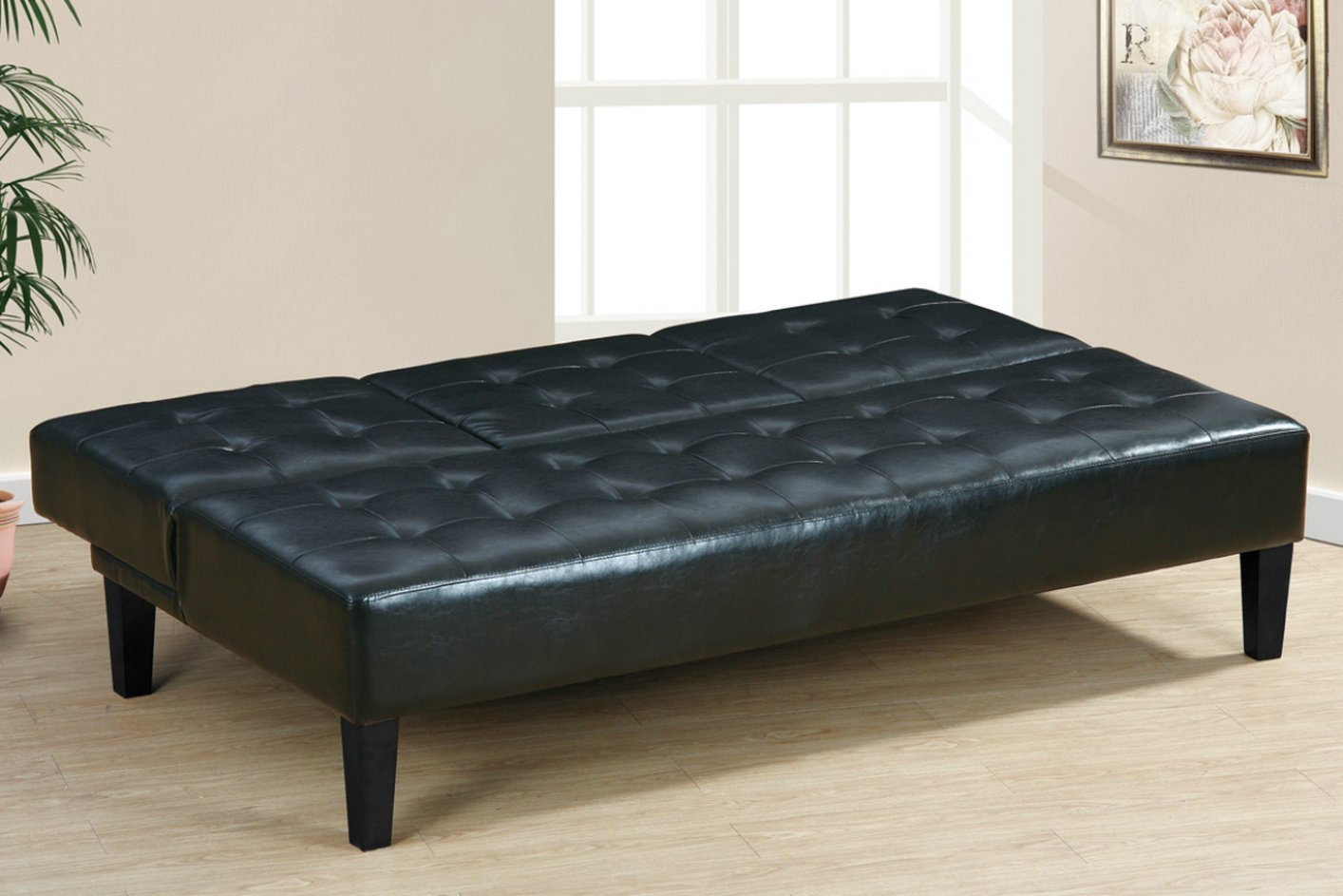 Poundex F7209 Black Twin Size Leather Sofa Bed Steal A Sofa Furniture Outlet Los Angeles Ca