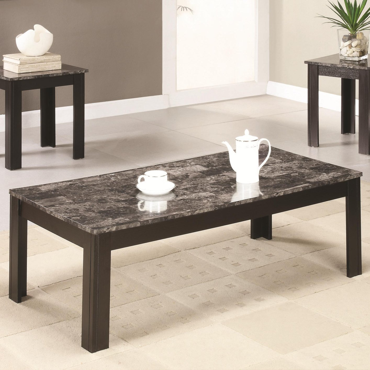 Marble Coffee Table Online: Black Marble Coffee Table Set