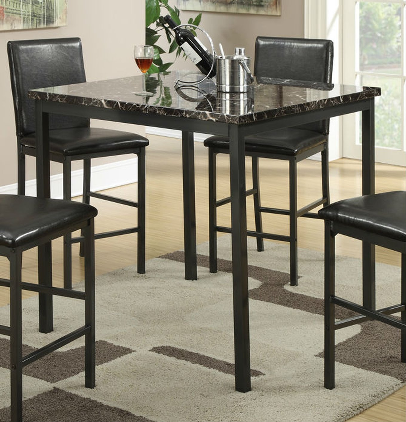 Black Marble Dining Table - Steal-A-Sofa Furniture Outlet Los Angeles CA