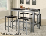 Silver Metal Dining Table and Chair Set