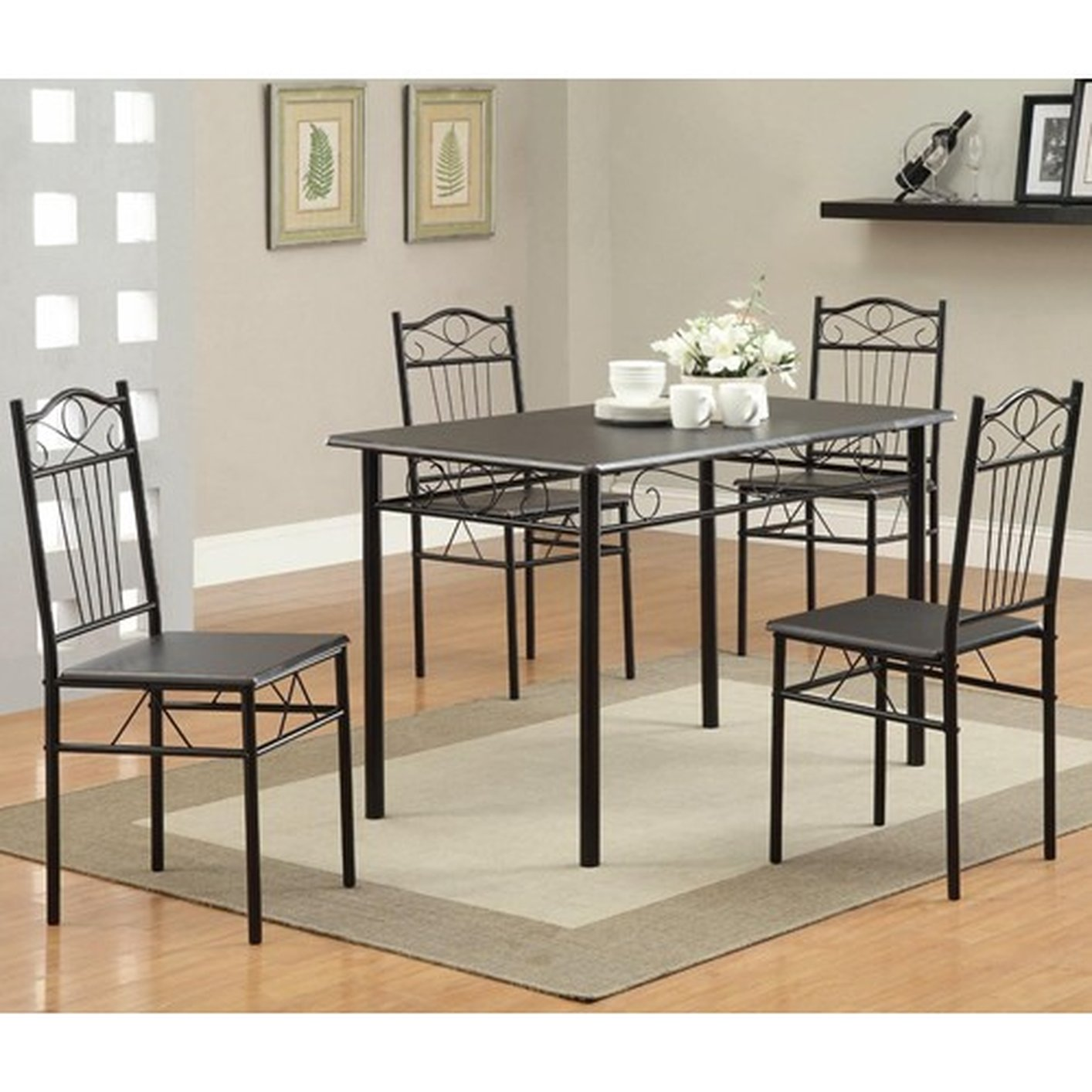 Elegant Black Metal Dining Table And Chair Set