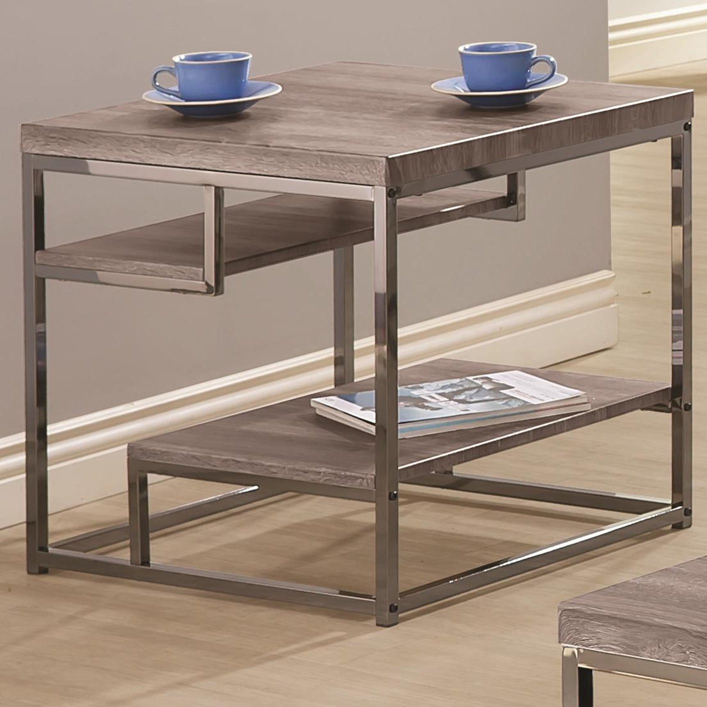 Grey Wood End Table