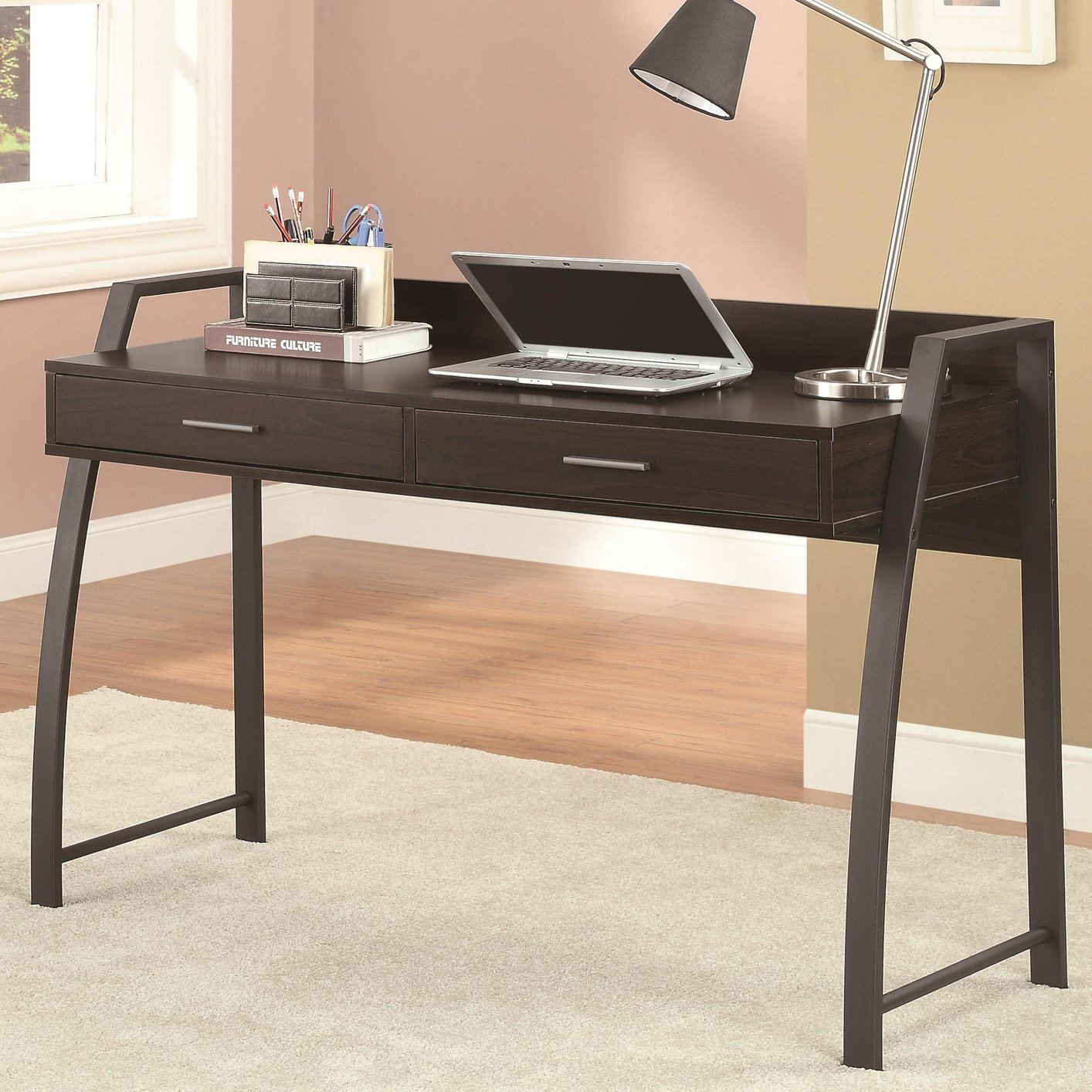 Coaster 801141 black metal office desk steal a sofa furniture outlet los angeles ca - Metal office desk ...