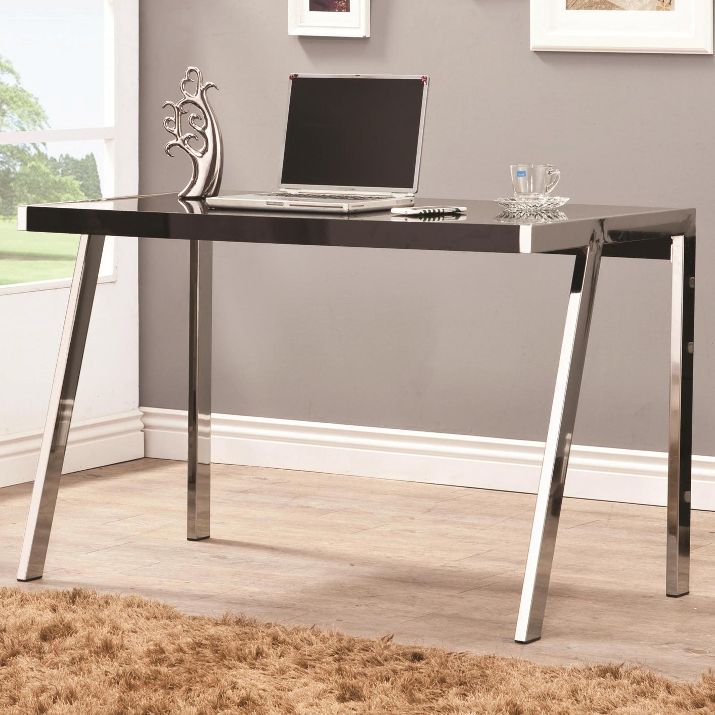 Silver wood office desk steal a sofa furniture outlet los angeles ca - Metal office desk ...
