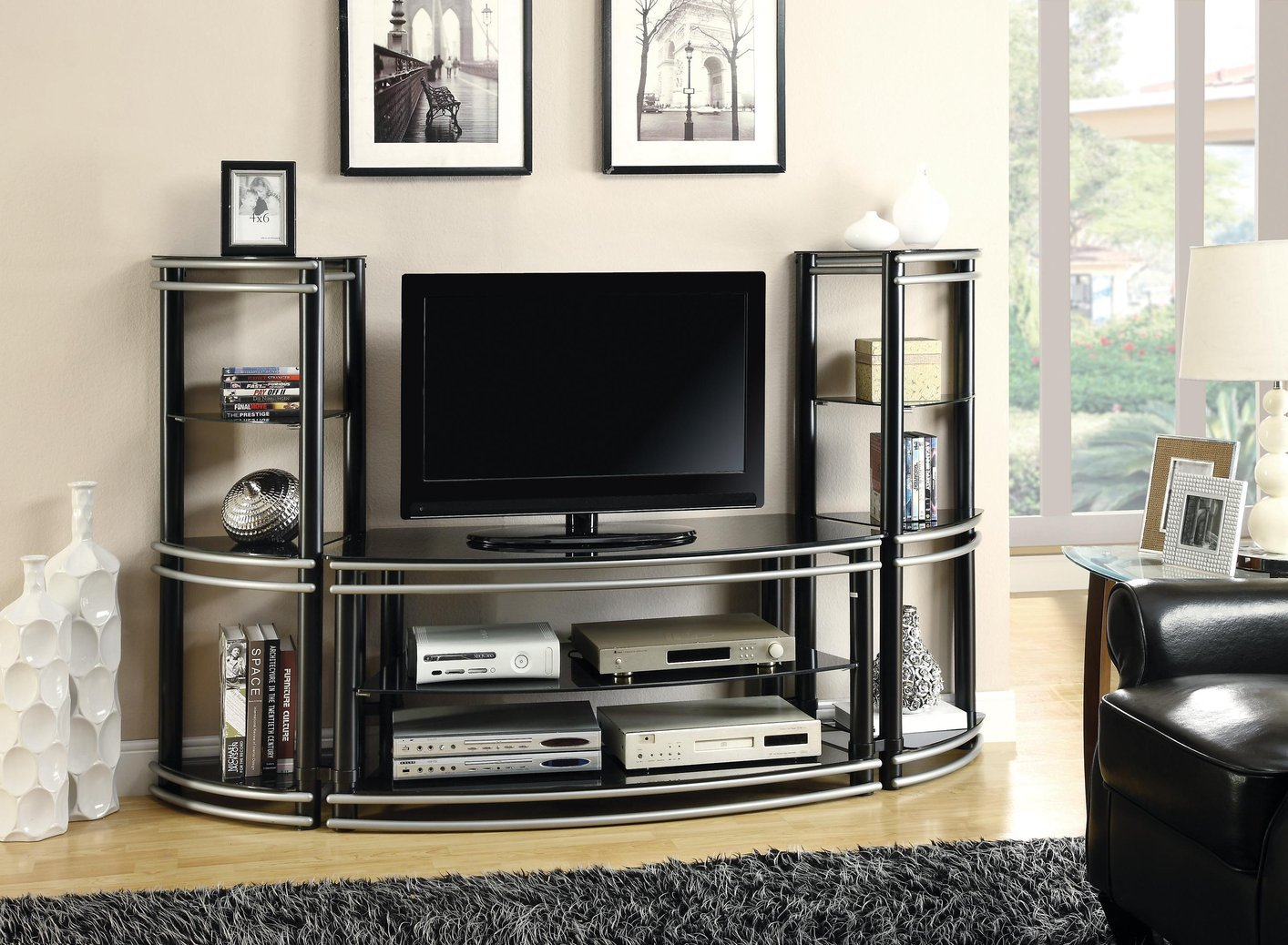 Black Metal TV Stand Steal A Sofa Furniture Outlet Los Angeles CA