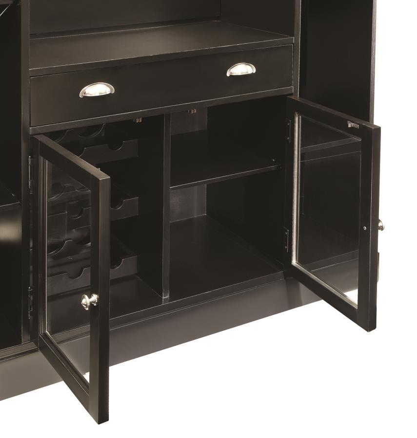 Black wood bar unit steal a sofa furniture outlet los for Wooden bar unit