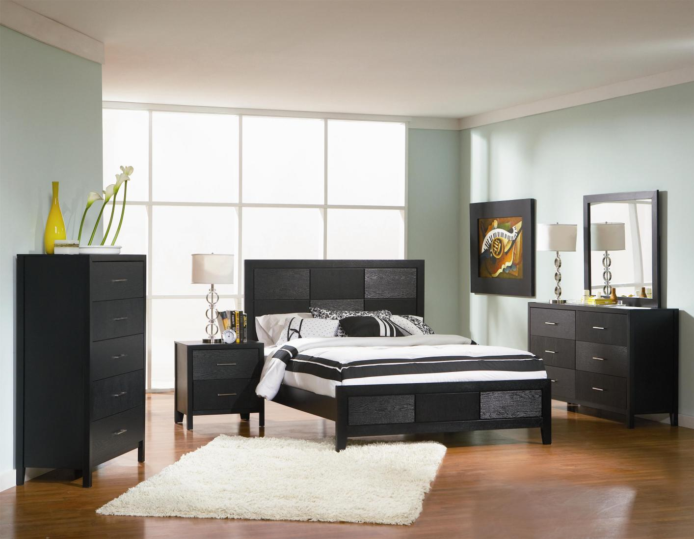 Black Wood Bed - Steal-A-Sofa Furniture Outlet Los Angeles CA