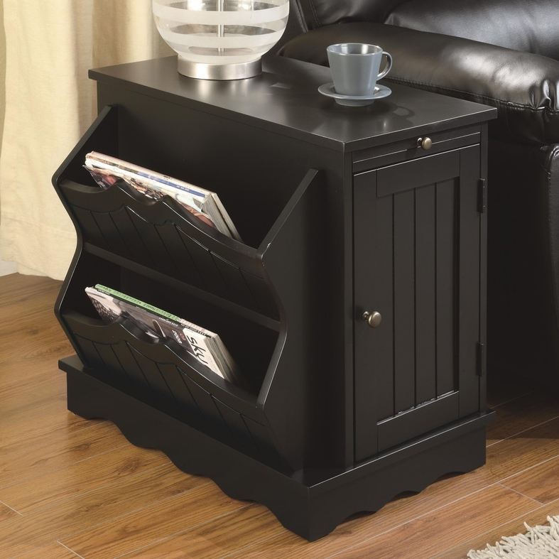 Black Wood Chair Side Table - Coaster 700411 Black Wood Chair Side Table - Steal-A-Sofa
