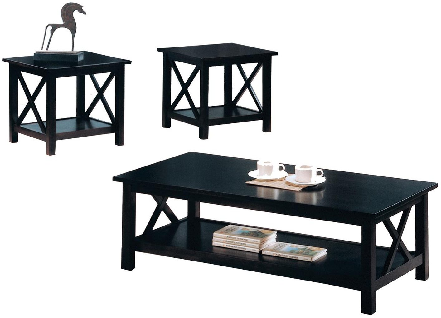 Black Wood Coffee Table Set  sc 1 st  Steal-A-Sofa Furniture Outlet : black coffee and end table set - pezcame.com