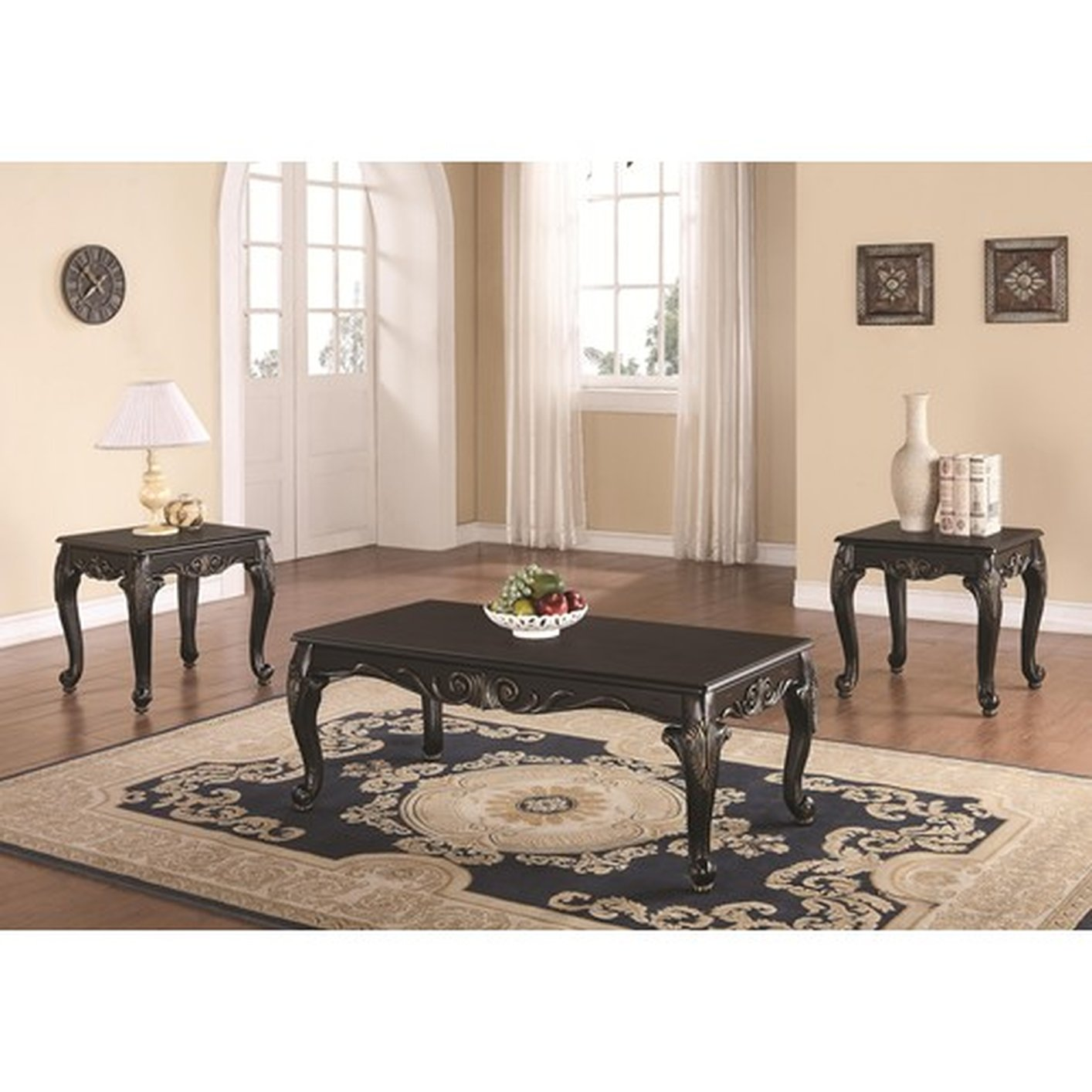 174d58b91231 Black Wood Coffee Table Set - Steal-A-Sofa Furniture Outlet Los ...