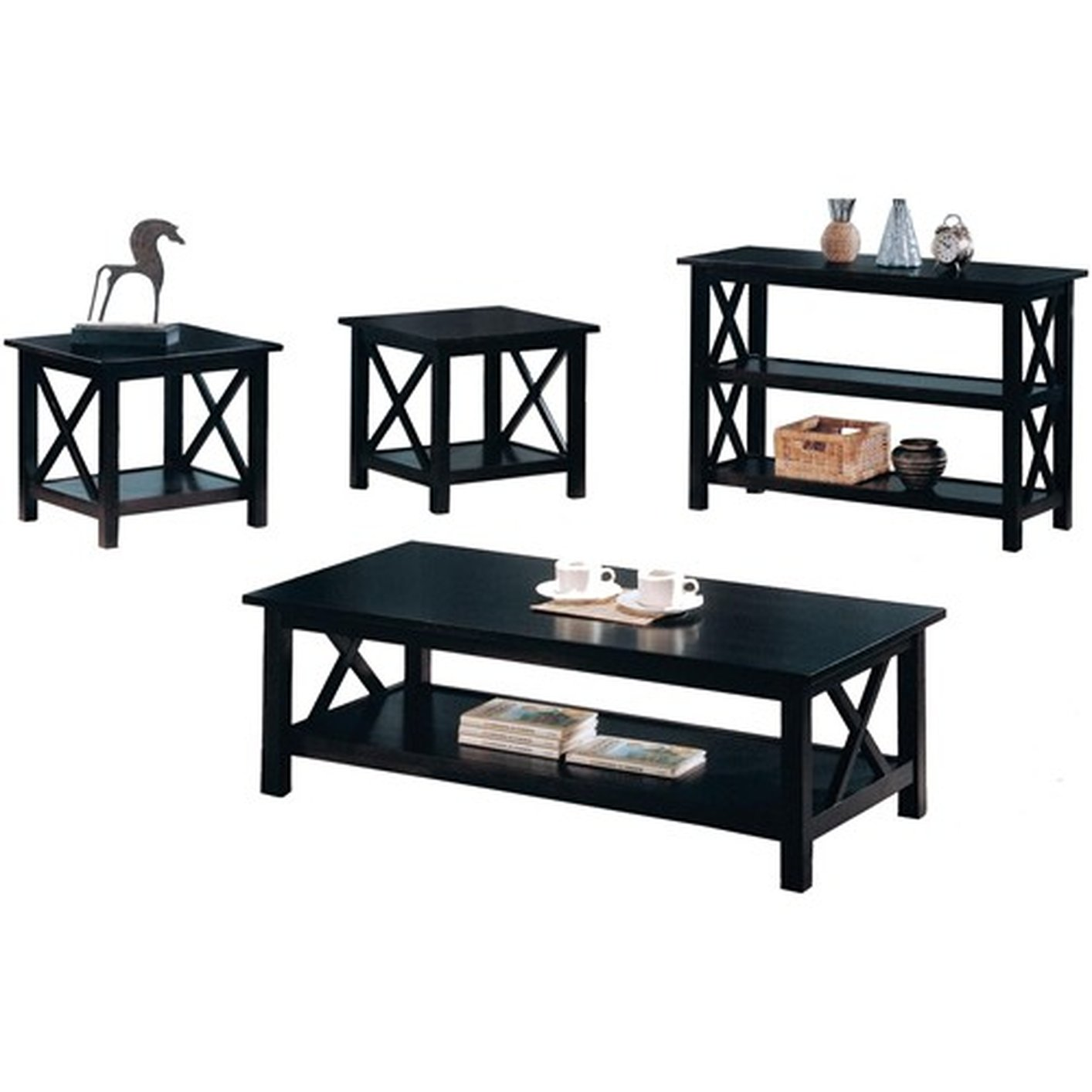 Black wood coffee table set steal a sofa furniture for Black wood coffee table and end tables